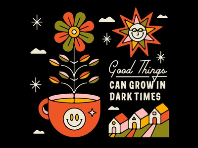Good Things Can Grow In Dark Times freelancedesigner quarantine palm canyon drive positive stars clouds sunglasses sun building home houses 2020 flower vintage mug smiley face 1970s illustration