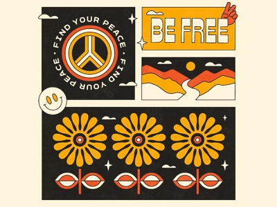Be Free peace badge clouds stars river sun mountains night typography flowerpower flower landscape hand peacesign smileyface 1970s retro illustration branding