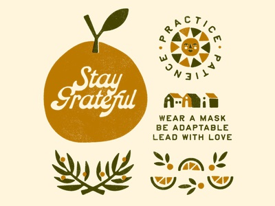 Thanksgiving 2020 winter love mask apple orange leaves house sun thankful stay grateful print fall thanksgiving vintage branding illustration