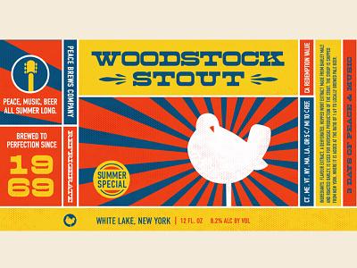 Woodstock Stout Craft Beer Label vintage iconography woodstock label beer vector
