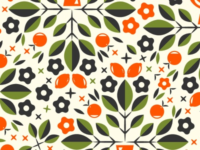 Bouquet Pattern bouquet flower spring orange lemon vector vintage illustration pattern