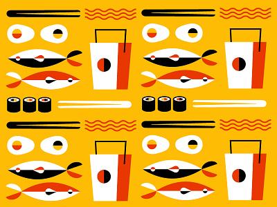 Takeout Pattern pattern ramen noodles takeout box eggs sushi fish chopsticks takeout