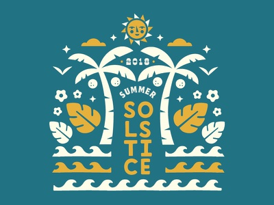 Summer Solstice summer solstice coconuts birds clouds leaves waves flowers palm tree sun illustration solstice summer