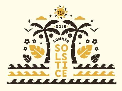 Happy Solstice coconuts birds clouds 2018 leaves waves flowers palm tree sun illustration solstice summer