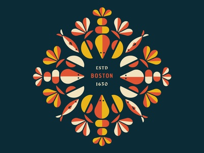 Sea Pattern 2.0 shell fish summer restaurant seafood madeleine mcmichael identity logo color palette pattern boston lobster