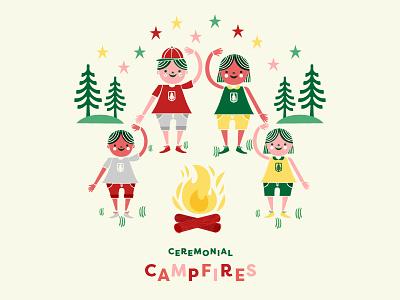 Campfire Illustration camp summer kids boy and girl stars illustration trees logs fire campfire camper