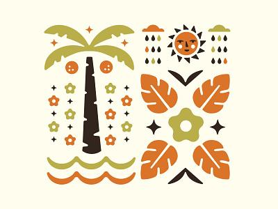 Tropical Illo summer tropical vector illustration coconut ocean cloud rain sun flower palm tree