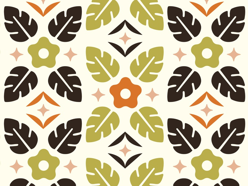 Tropical Pattern floral pattern summer pattern green orange brown tropical pattern tropical flowers flowers tropical vector pattern pattern