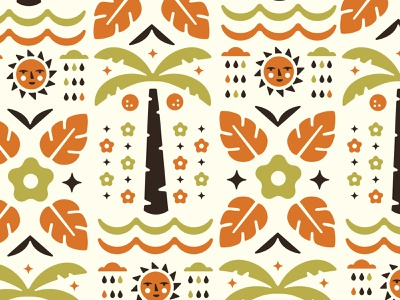 Illustrative Pattern rain cloud flowers sun palm tree beach beach pattern vector pattern floral pattern tropical pattern illustrative pattern