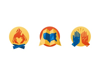 Illustrated Icons subtle gradient vector illustrative icons icons high five folding map america map america usa map map campfire fire heart