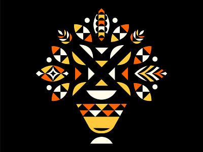 Geometric Bouquet: Orange/Yellow bouquet series fall spring bouquet retro game 70s vector pattern flower geometric