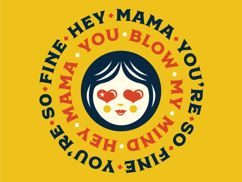 Hey Ma! vector illustration face mom women in illustration illustraion vintage