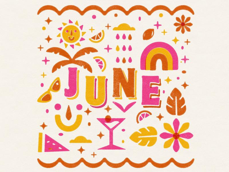 June Illustration lemon summer month smiley sun rainbows cloud flower cocktail rainbow texture illustration madeleinemcmichael june