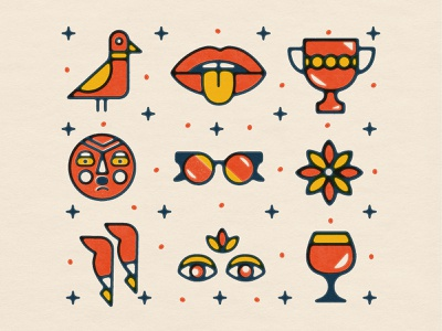 Vintage Inspired Icons textured icons vintage icons beer eyes legs flower glasses faces tongue trophy mouth bird