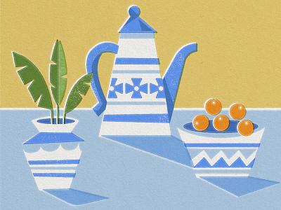 Still Life texture pot bowl pitcher house plant plant porcelain orange