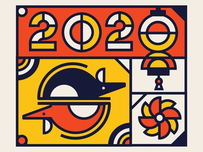 2020 Year of the Rat primary colors vector 2020 lunarnewyear chinese new year year of the rat rat