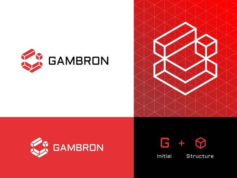 GAMBRON™ Logo Design logoprocess structure construction logotype logodesigner graphicdesign logomark branding icon brand agency abstract symbol logo designer logo design geometic logo logos