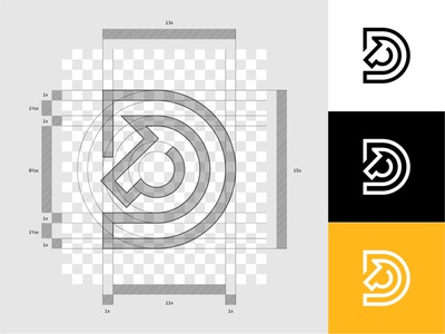 Logo Grid - Palehorse Development Group logo process grid system grid logotype logo designer branding brand dribbble logofield lettermark initial construction horse logo