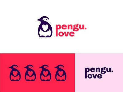 Penguin Love Logo logomark icon branding symbol brand agency logo design happy love illustration penguin logo negative space minimal cute logofield logo penguin