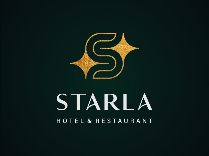Starla Hotel and Restaurant lettermark logotype logo maker logo process logo grid brand identity branding golden logo luxury logo elegant logo s monogram starlogo star logofield logodesigner brand logo
