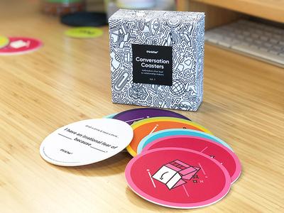 thinkFWD Conversation Coasters vector box design packaging illustration branding design thinking icebreakers