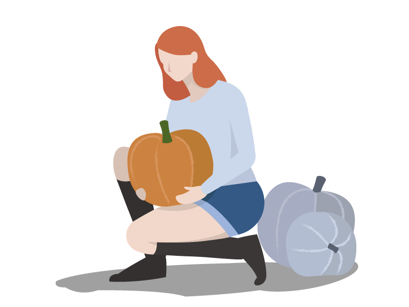 Pumpkin pickin' draw minimal season illustrator flat illustration fall autumn pumpkin