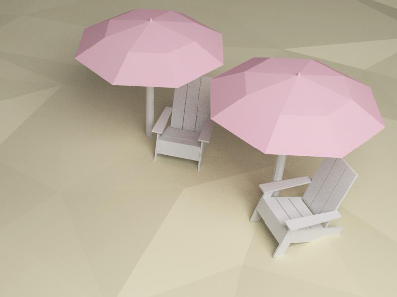 Sugar Beach low poly blender summer illustration 3d illustration sand beach chairs landmark canada toronto beach sugar beach