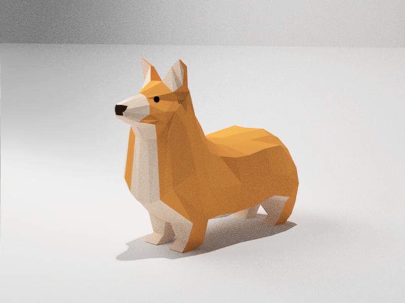 Bork illustration blender dog cute 3d illustration low poly corgi bork