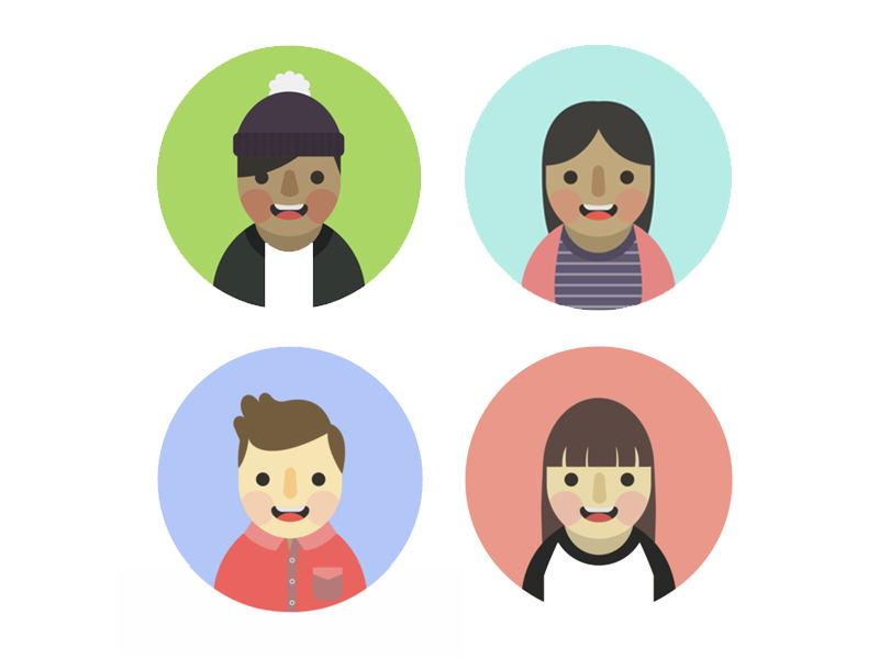 Different strokes for different folks portrait drawing icon minimal illustrator illustrations flat vector persona