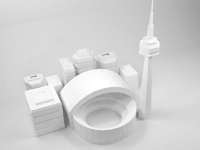 The 6ix cold like Alaska monochrome white low poly landmark illustration canada blender 3d illustration 6ix toronto cn tower