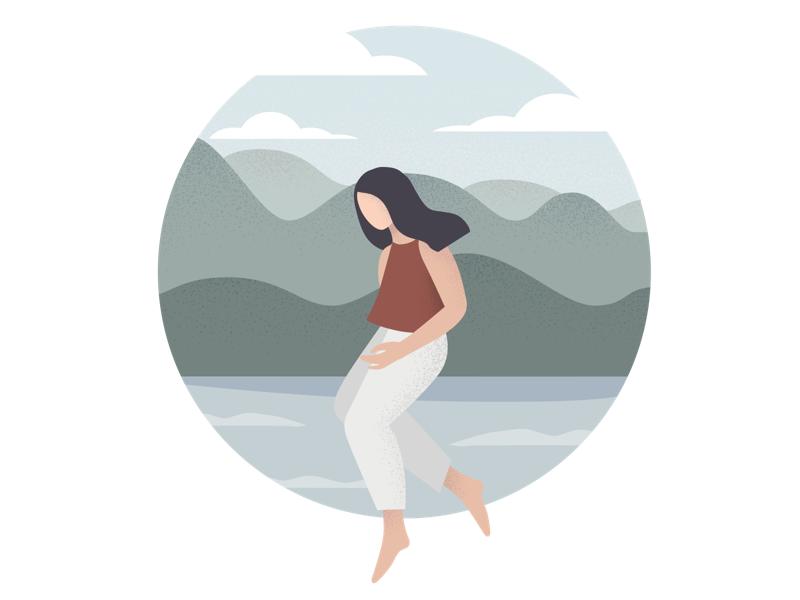 Stay afloat gradient minimal flat character-design illustrator vector illustration