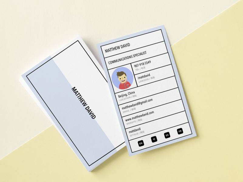 Bilingual business card bilingual business card design minimal flat illustration