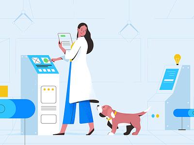 Lab laboratory dog illustration dog character explainer girl texture characters shape vector flat 2d illustration