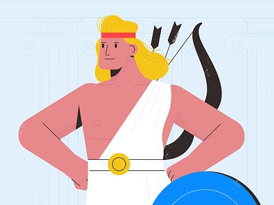 Hercules character design hero man hercules texture characters shape vector flat 2d illustration