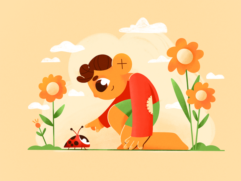 Spring flower nature summer boy procreate characters shape vector flat 2d illustration
