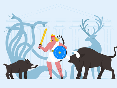 Hercules animals people hercules character explainer girl texture characters shape vector flat 2d illustration