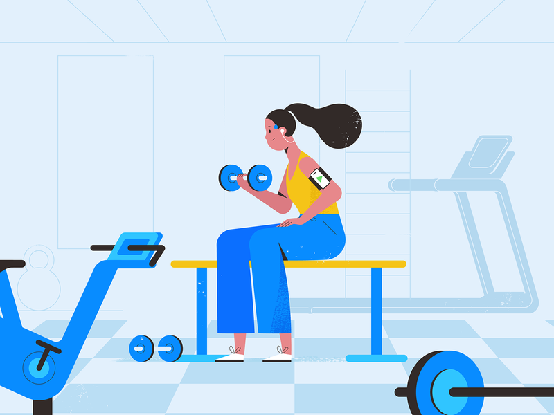 Gym sport gym character explainer girl texture characters shape vector flat 2d illustration