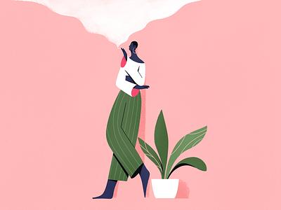 Smoke smoke people plant procreate design girl explainer texture characters shape flat 2d illustration