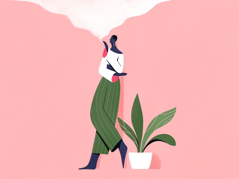 Smoke smoke people plant procreate design girl explainer texture characters shape flat 2d illustration