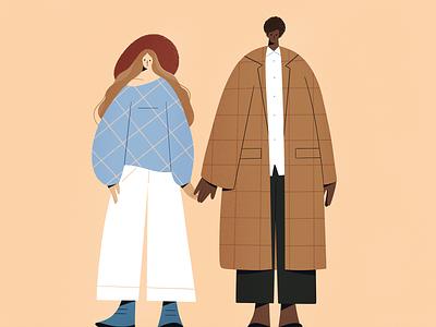 Friends? print fashion clothes procreate design explainer character girl texture characters shape flat 2d illustration