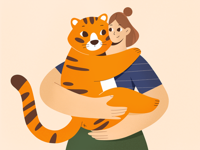 Big Baby baby procreate art animals tiger procreate design character girl texture characters vector shape flat 2d illustration