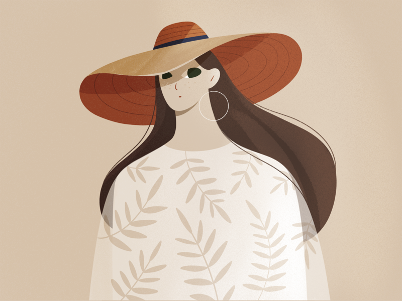 Just a girl flowers pattern plants fashion hat people design procreate explainer character girl texture characters flat 2d illustration