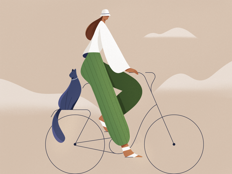 Friends people illustration style bicycle bike cat people procreate design character girl texture characters shape flat 2d illustration