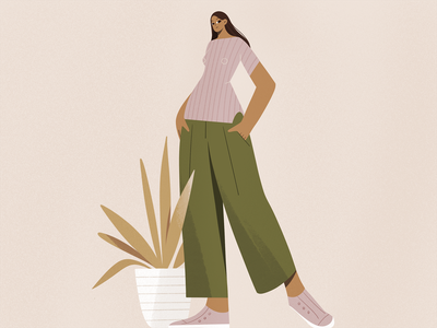 Like a model pose clothes fashion plant design procreate girl texture characters shape flat 2d illustration