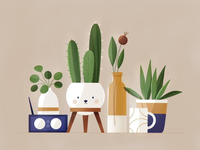 Plants flowers face things stuff plants procreate design texture characters shape flat 2d illustration