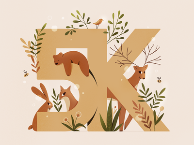 5K followers plants forest hare fox bear animals procreate design character texture characters 2d flat illustration
