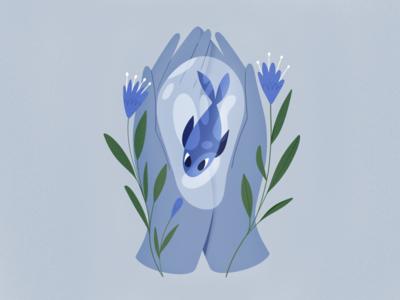 Blue Fish water fish plants hands design procreate character texture characters shape flat 2d illustration