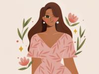 Flora plants plant people design procreate character girl texture characters shape flat 2d illustration