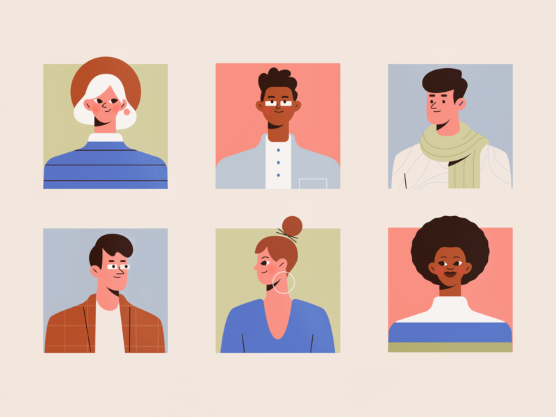 Community team diversity face people girl texture character procreate vector characters shape flat 2d illustration