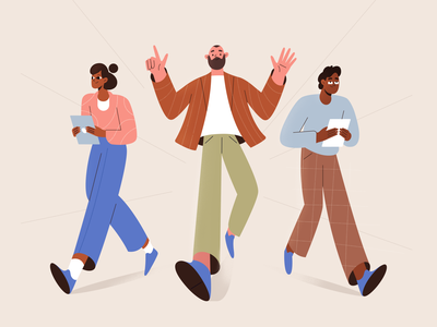 Friday teamwork team procreate people girl vector texture characters shape flat 2d illustration